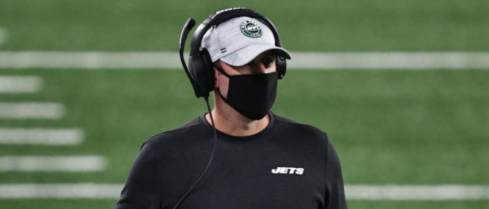 EAST RUTHERFORD, NEW JERSEY - OCTOBER 01: Head coach Adam Gase of the New York Jets looks on against the Denver Broncos during the second quarter at MetLife Stadium on October 01, 2020 in East Rutherford, New Jersey. (Photo by Elsa/Getty Images)