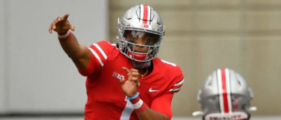 COLUMBUS, OH - OCTOBER 24: Quarterback Justin Fields #1 of the Ohio State Buckeyes passes to Luke Farrell #89 in the second quarter against the Nebraska Cornhuskers at Ohio Stadium on October 24, 2020 in Columbus, Ohio. (Photo by Jamie Sabau/Getty Images)