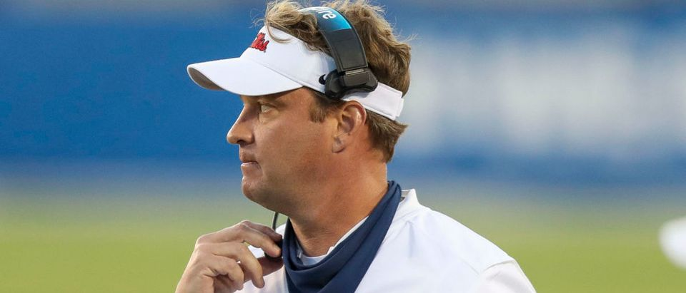 Oct 3, 2020; Lexington, Kentucky, USA; Mississippi Rebels head coach Lane Kiffin in the second half against Kentucky at Kroger Field. Mandatory Credit: Katie Stratman-USA TODAY Sports via Reuters