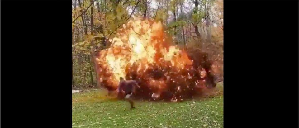 Leafs Explosion (Credit: Screenshot/Twitter Video https://twitter.com/StoolOutdoors/status/1315451244404768768)