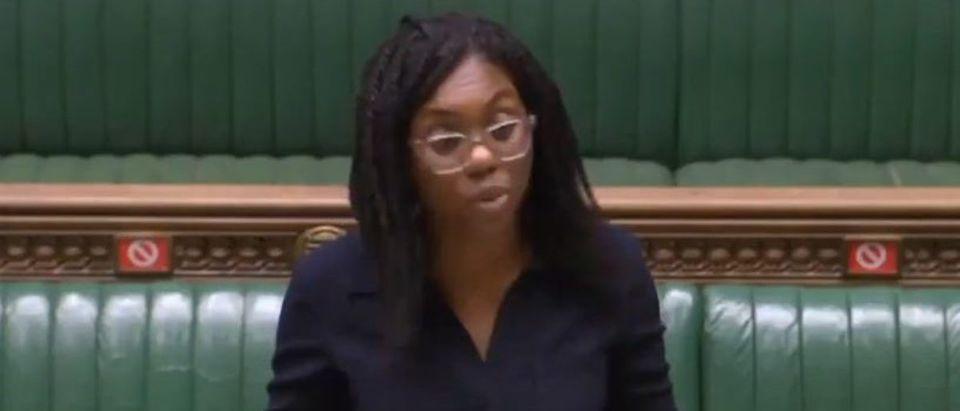 MP Kemi Badenoch delivers anti BLM address (Twitter screengrab)