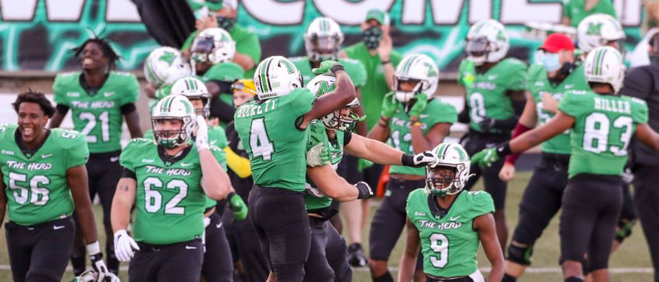 Sep 19, 2020; Huntington, West Virginia, USA; Marshall Thundering Herd players celebrate after a missed Appalachian State Mountaineers field goal during the fourth quarter at Joan C. Edwards Stadium. Mandatory Credit: Ben Queen-USA TODAY Sports via Reuters