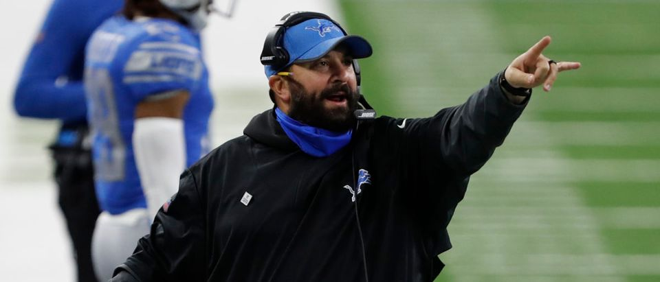 Oct 4, 2020; Detroit, Michigan, USA; Detroit Lions head coach Matt Patricia points down the field during the fourth quarter against the New Orleans Saints at Ford Field. Mandatory Credit: Raj Mehta-USA TODAY Sports via Reuters