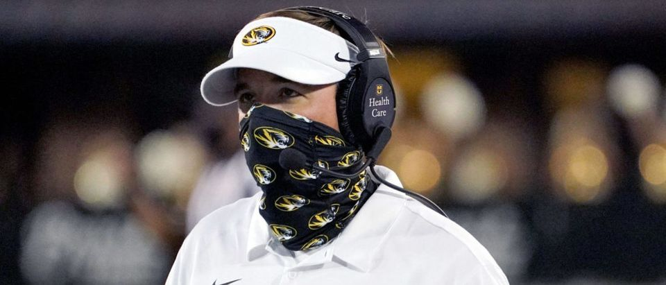 Sep 26, 2020; Columbia, Missouri, USA; Missouri Tigers head coach Eliah Drinkwitz watches the reply board during the first half against the Alabama Crimson Tide at Faurot Field at Memorial Stadium. Mandatory Credit: Denny Medley-USA TODAY Sports via Reuters