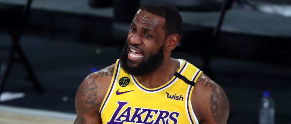 Oct 6, 2020; Miami, Florida, USA; Los Angeles Lakers forward LeBron James (23) reacts during the fourth quarter against the Miami Heat in game 4 of the 2020 NBA Finals at AdventHealth Arena. Mandatory Credit: Kim Klement-USA TODAY Sports via Reuters