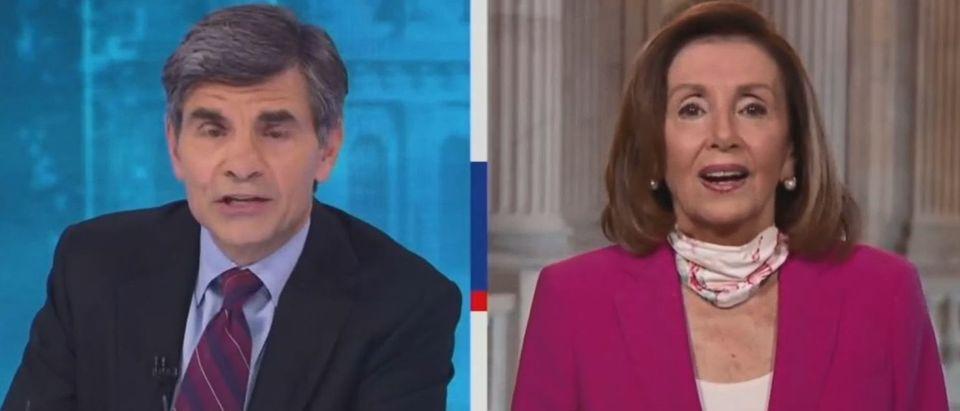 Nancy Pelosi dodges question about blocking Barrett (ABC screengrab)