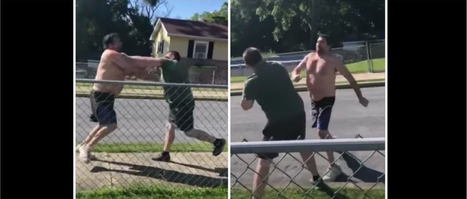 Neighbors Fight (Credit: Screenshot/YouTube https://www.youtube.com/watch?v=eXSSKlAORp4&feature=youtu.be)