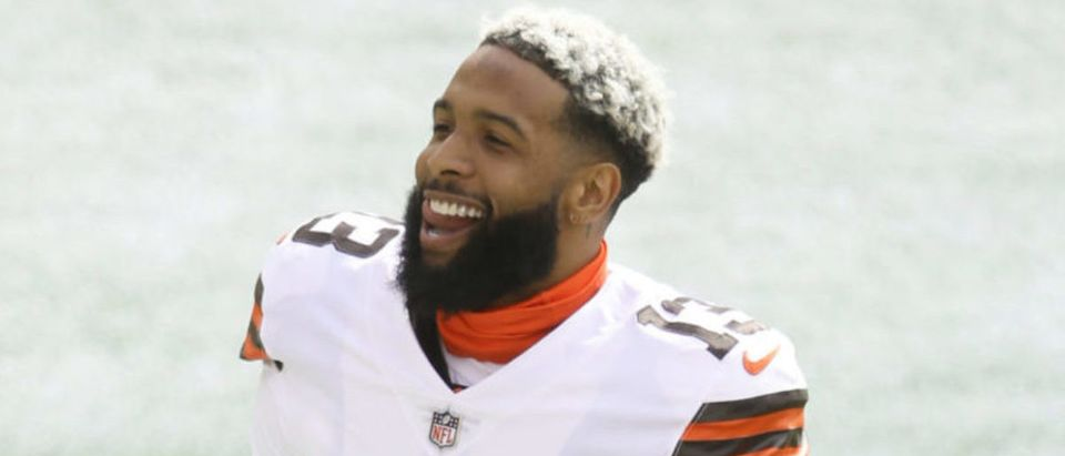Oct 18, 2020; Pittsburgh, Pennsylvania, USA; Cleveland Browns wide receiver Odell Beckham Jr. (13) smiles on the field before playing the Pittsburgh Steelers at Heinz Field. The Steelers won 38-7. Mandatory Credit: Charles LeClaire-USA TODAY Sports via Reuters