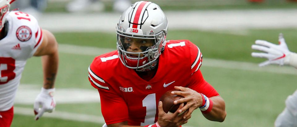 Oct 24, 2020; Columbus, Ohio, USA; Ohio State Buckeyes quarterback Justin Fields (1) runs during the first quarter against the Nebraska Cornhuskers at Ohio Stadium. Mandatory Credit: Joseph Maiorana-USA TODAY Sports via Reuters