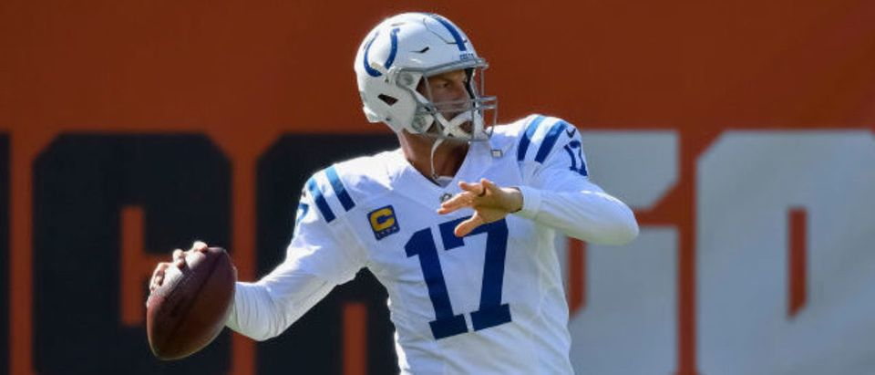 CHICAGO, ILLINOIS - OCTOBER 04: Philip Rivers #17 of the Indianapolis Colts during warm ups before the game against the Chicago Bears at Soldier Field on October 04, 2020 in Chicago, Illinois. (Photo by Quinn Harris/Getty Images)