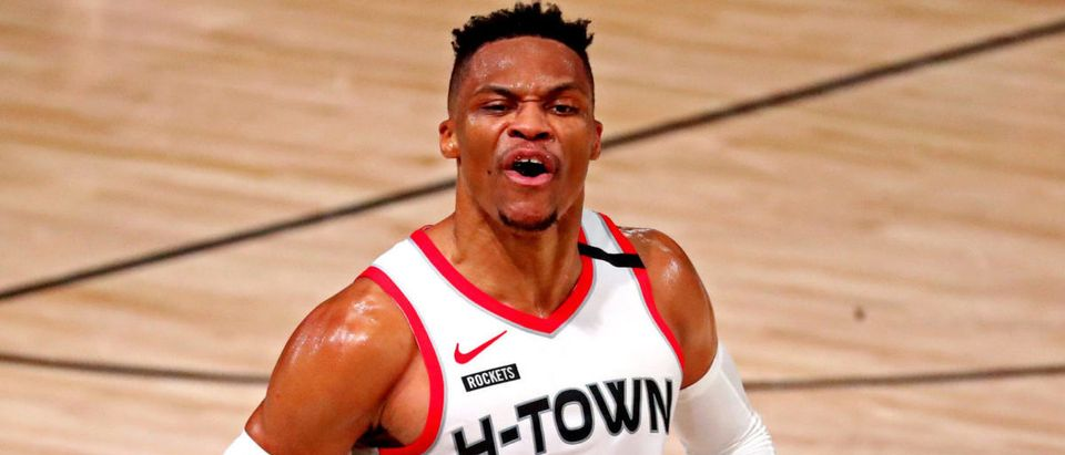 Sep 4, 2020; Lake Buena Vista, Florida, USA; Houston Rockets guard Russell Westbrook (0) reacts after a play during the fourth quarter against the Los Angeles Lakers in game one of the second round of the 2020 NBA Playoffs at AdventHealth Arena. Mandatory Credit: Kim Klement-USA TODAY Sports via Reuters