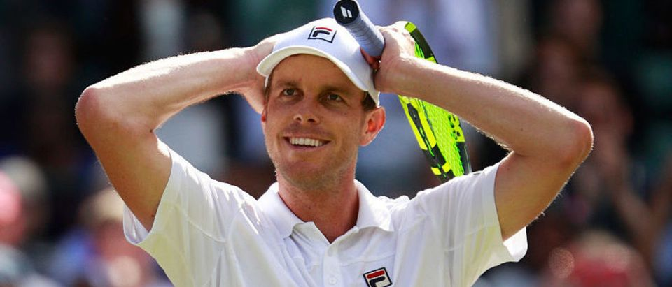 LONDON, ENGLAND - JULY 02: Sam Querrey of The United States celebrates victory during the Men's Singles third round match against Novak Djokovic of Serbia on day six of the Wimbledon Lawn Tennis Championships at the All England Lawn Tennis and Croquet Club on July 2, 2016 in London, England. (Photo by Adam Pretty/Getty Images)