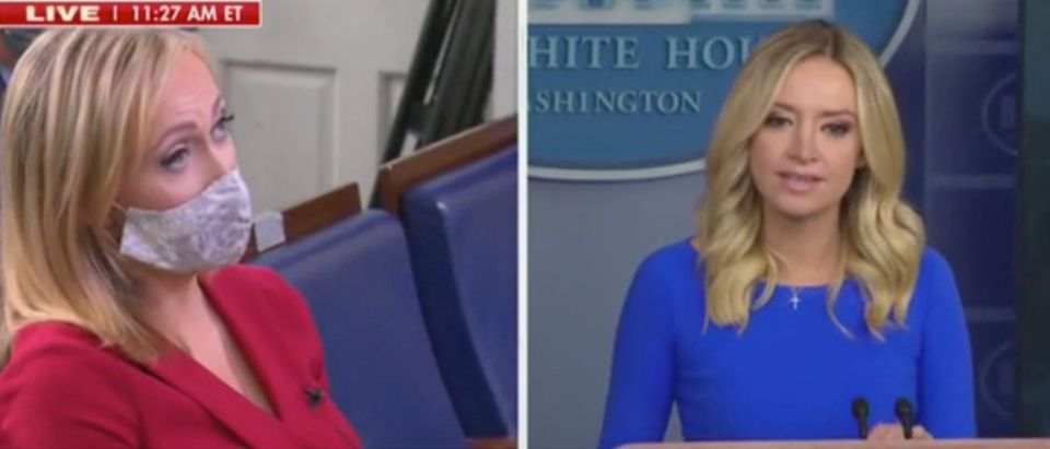 Paula Reid questions Kayleigh McEnany during White House press briefing. Screenshot/Fox News