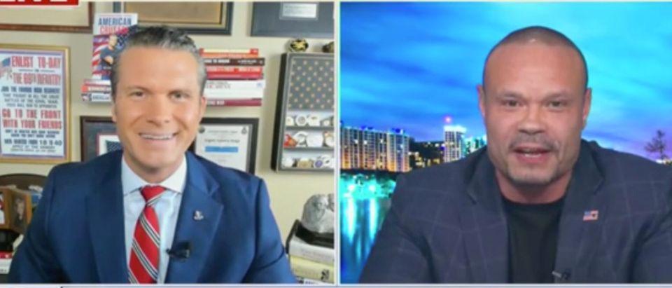 "Pete Hegseth and Dan Bongino appear on ""Fox and Friends."" Screenshot/Fox News"