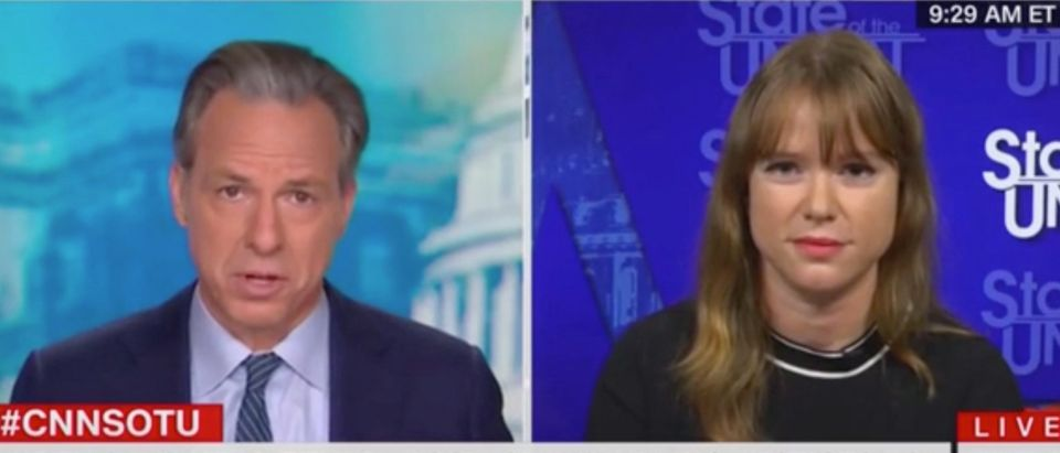 "Kate Bedingfield appears on ""State of the Union"" with Jake Tapper. Screenshot/CNN"