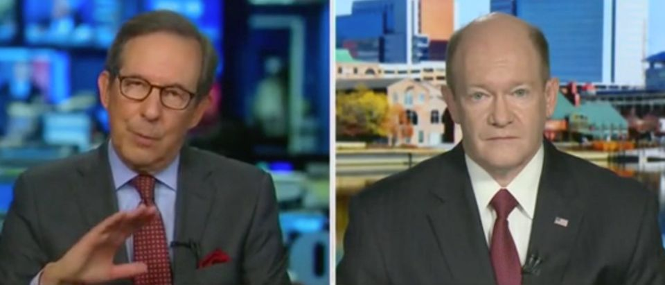 "Sen. Chris Coons appears on ""Fox News Sunday"" with Chris Wallace. Screenshot/Fox"