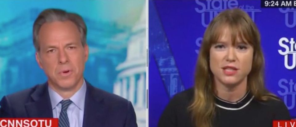 """Kate Bedingfield appears on """"State of the Union"""" with Jake Tapper. Screenshot/CNN"""
