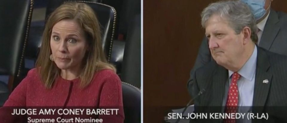 Supreme Court Justice Nominee Amy Coney Barrett takes questions from Sen. John Kennedy. Screenshot/C-Span