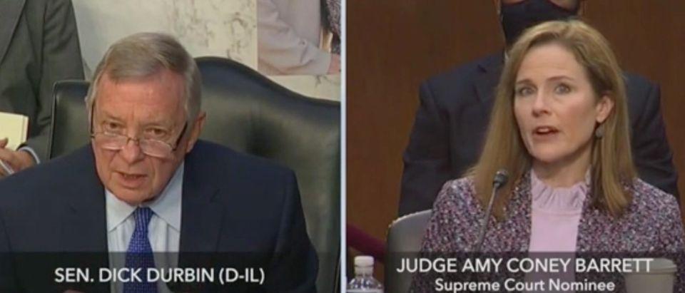 Sen. Dick Durbin questions Amy Coney Barrett. Screenshot/C-Span