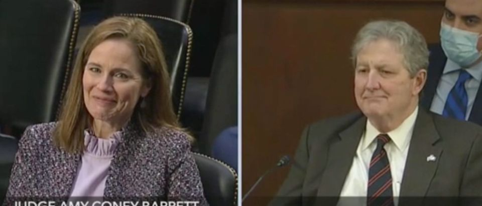 Amy Coney Barrett takes questions from Sen. John Kennedy. Screenshot/C-Span