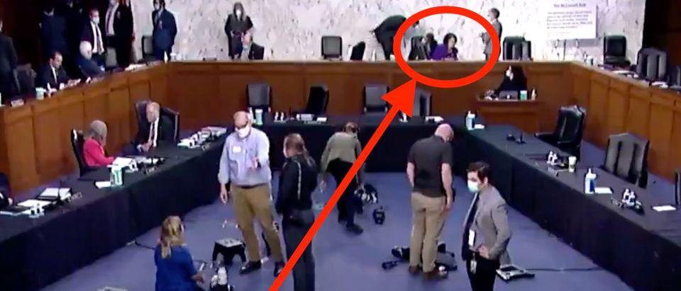 Dianne Feinstein waits for Senate Judiciary Committee hearing to begin. Screenshot/CBN News