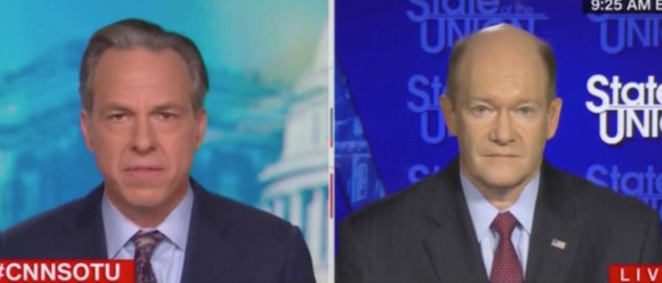 Jake Tapper speaks with Democratic Delaware Sen. Chris Coons. Screenshot/CNN
