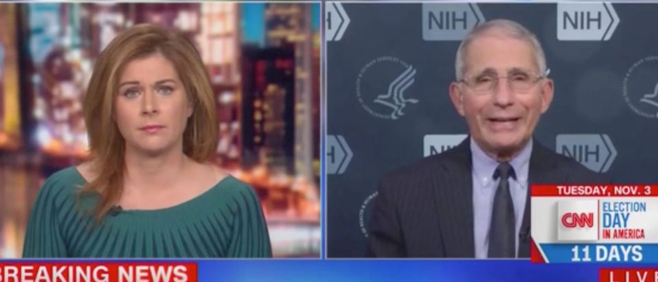 "Erin Burnett speaks with Dr. Anthony Fauci on ""Out Front."" Screenshot/CNN"