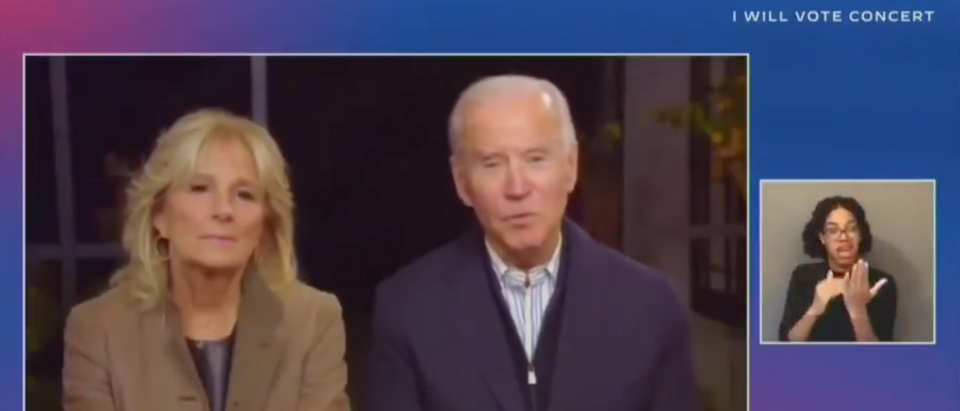 "Joe Biden and Jill Biden speak during the virtual ""I Will Vote Concert"" campaign event Sunday (Screenshot/Twitter Scott Whitlock)"