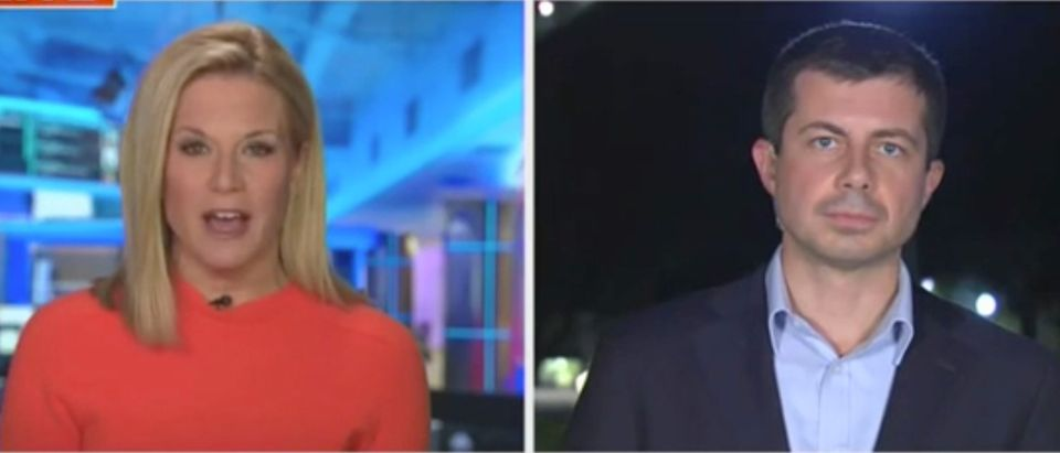 Martha MacCallum speaks with former South Bend, Indiana, Mayor Pete Buttigieg. Screenshot/Fox News