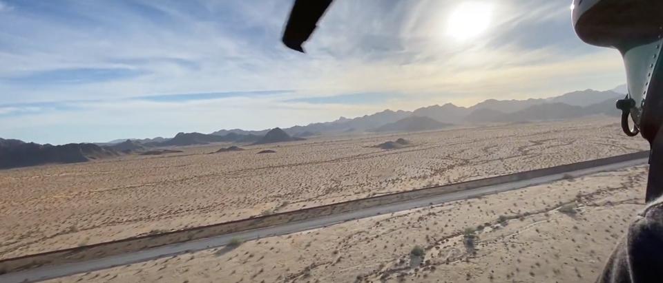 Aerial shot along the U.S.-Mexico southern border in California and Arizona (Screenshot/Youtube Daily Caller)