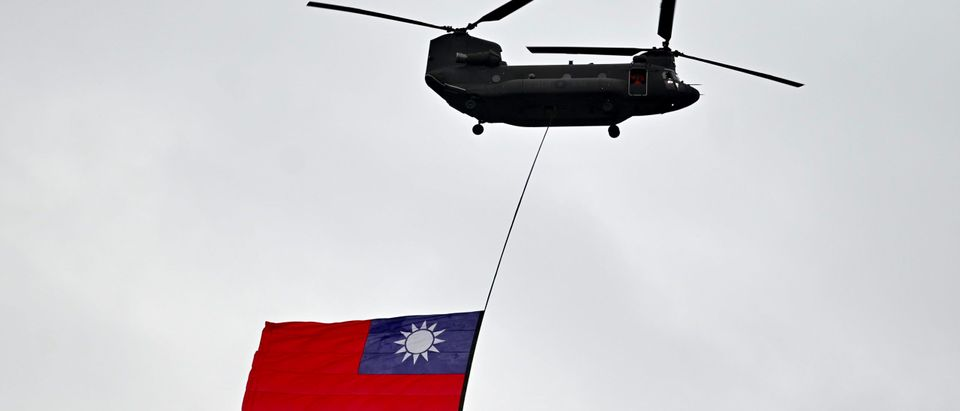 Taiwanese Helicopter Flies With National Flag