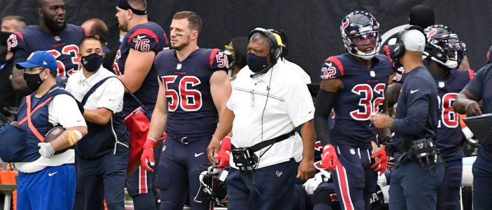 HOUSTON, TEXAS - OCTOBER 25: Interim head coach Romeo Crennel of the Houston Texans looks on against the Green Bay Packers during the third quarter at NRG Stadium on October 25, 2020 in Houston, Texas. (Photo by Logan Riely/Getty Images)