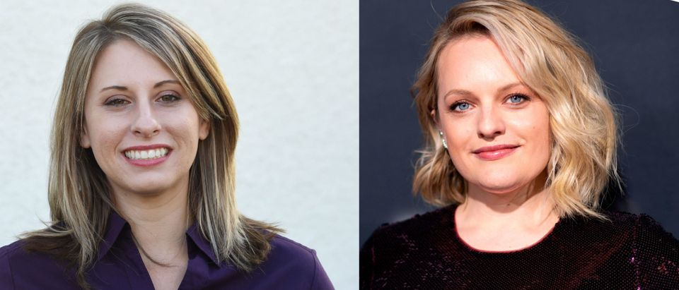 Katie Hill/ Elizabeth Moss. (MARK RALSTON/AFP via Getty Images) (Photo by VALERIE MACON/AFP via Getty Images)