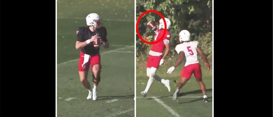 Wisconsin Badgers Catch (Credit: Screenshot/Twitter Video https://twitter.com/BadgerFootball/status/1313882171061538817)