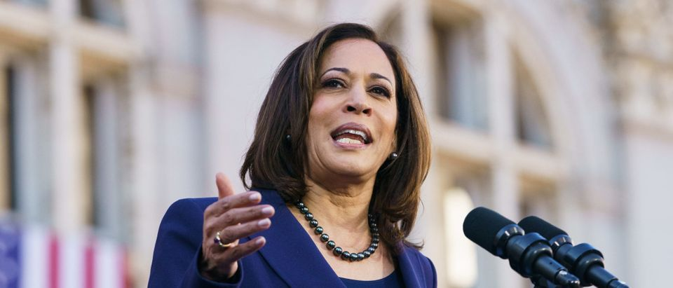 Senator Kamala Harris (D-CA) speaks to her supporters during her presidential campaign launch rally in Frank H. Ogawa Plaza on January 27, 2019, in Oakland, California. Twenty thousand people turned out to see the Oakland native launch her presidential campaign in front of Oakland City Hall. (Photo by Mason Trinca/Getty Images)