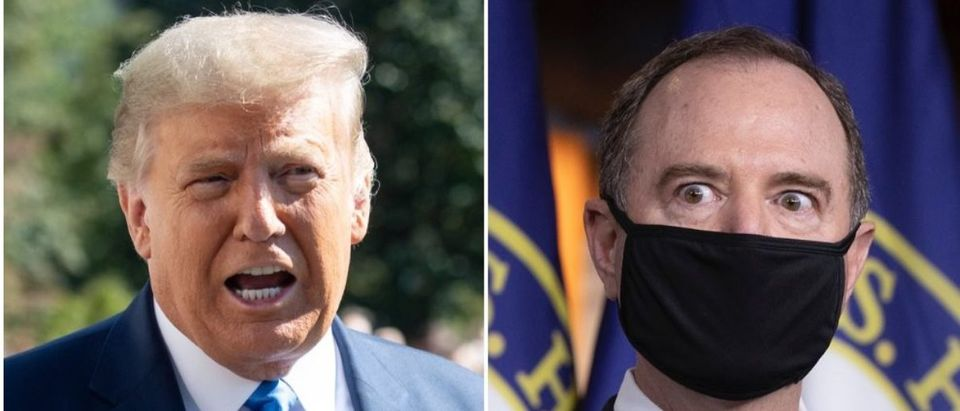"""Donald Trump said Adam Schiff """"ought to be put away"""" over comments that the Hunter Biden laptop stories are Russian disinformation. (SAUL LOEB/AFP via Getty Images, Tasos Katopodis/Getty Images)"""