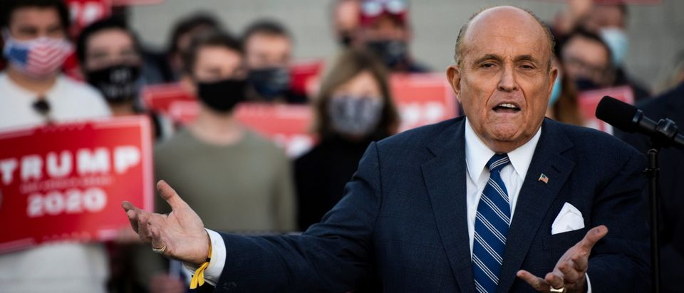 Former New York City Mayor Rudy Giuliani speaks at a news conference in Philadelphia