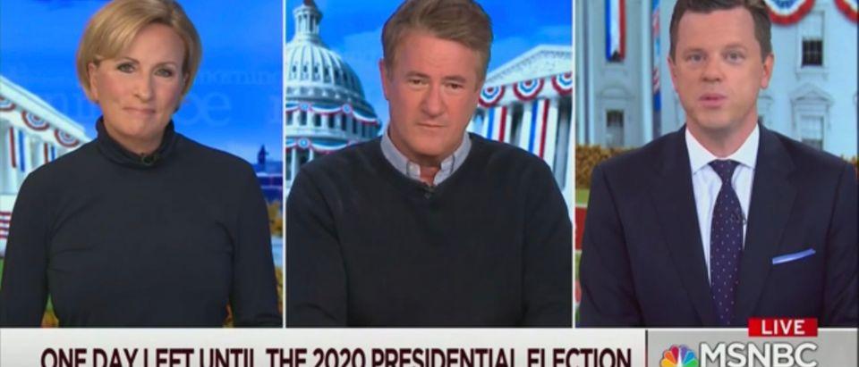 "Mika Brzezinski, Joe Scarborough and Willie Geist on MSNBC'S ""Morning Joe."""
