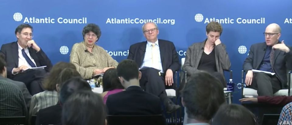 Atlantic Council hosts forum on Russia, July 31, 2018. Atlantic Council fellows John Herbst (far left) and Anders Aslund (center). (YouTube screen capture/Atlantic Council)