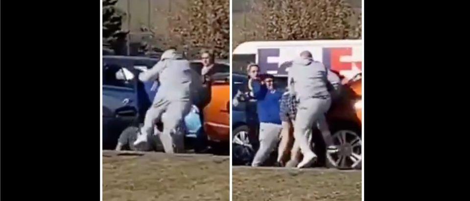 In-N-Out Line Fight (Credit: Screenshot/Twitter Video https://twitter.com/SalvaFlocka/status/1329894664019742720)