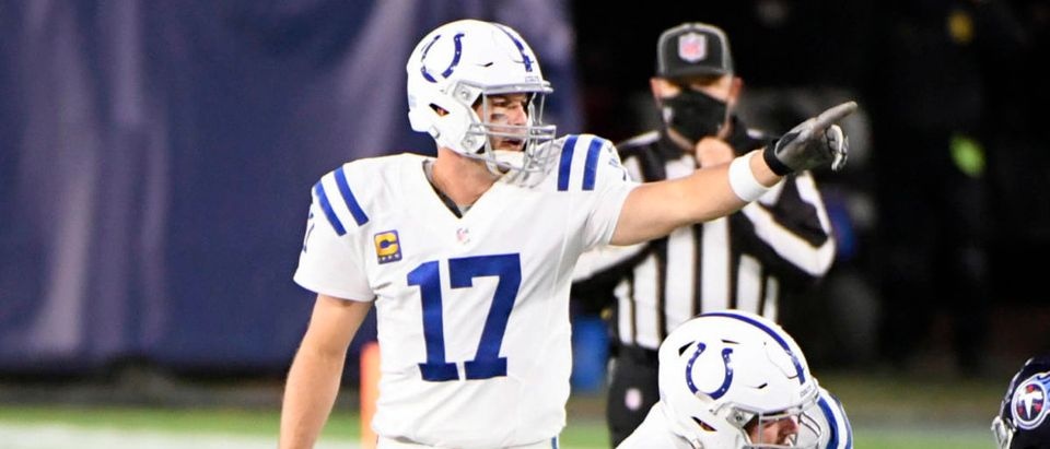 Nov 12, 2020; Nashville, Tennessee, USA; Indianapolis Colts quarterback Philip Rivers (17) calls out the defense against the Tennessee Titans during the second half at Nissan Stadium. Mandatory Credit: Steve Roberts-USA TODAY Sports via Reuters