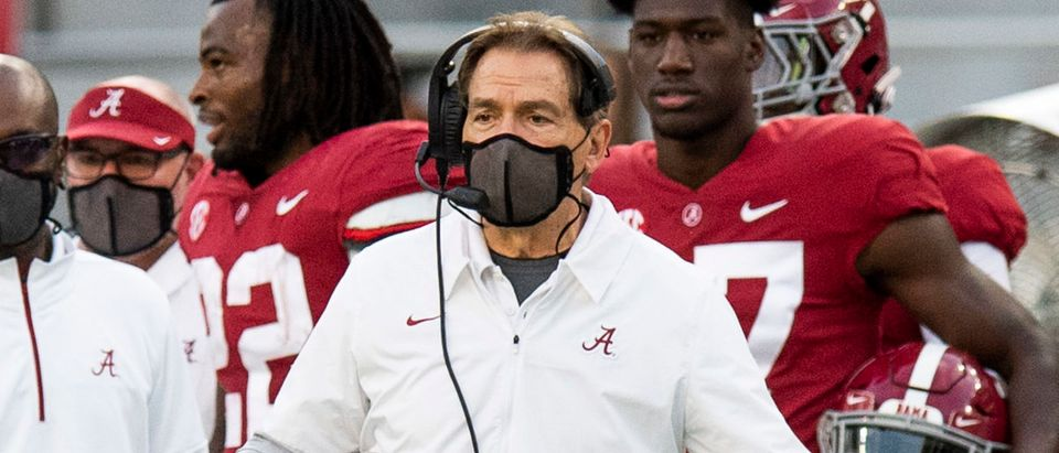 Nov 21, 2020; Tuscaloosa, Alabama, USA; Alabama Crimson Tide head coach Nick Saban reacts during a game against the entucky Wildcats at Bryant-Denny Stadium. Mandatory Credit: Mickey Welsh/The Montgomery Advertiser via USA TODAY Sports via Reuters