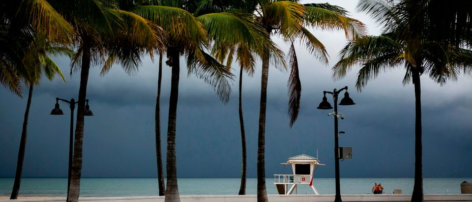 """A lifeguard tower is seen on the shore in at Las Olas Beach in Fort Lauderdale, Florida on September 2, 2019. - Monster storm Dorian stalled over the Bahamas Monday as surging seawaters and ferocious winds sowed chaos in low-lying island communities, claiming at least five lives and spurring mass evacuations on the US east coast. Lauderdale-Hollywood International Airport closed at noon due to a mandatory closure order due to winds associated with Hurricane Dorian. Monster storm Dorian came to a near stand-still over the Bahamas, prolonging the agony as surging seawaters and hurricane winds made a shambles of low-lying island communities and spurred mass evacuations along the US east coast. It weakened slightly Monday to a still-devastating Category 4 storm, punishing Grand Bahama Island with """"catastrophic winds and storm surge,"""" the Miami-based National Hurricane Center said in its 1500 GMT bulletin. (Photo by Eva Marie UZCATEGUI / AFP) (Photo credit should read EVA MARIE UZCATEGUI/AFP via Getty Images)"""