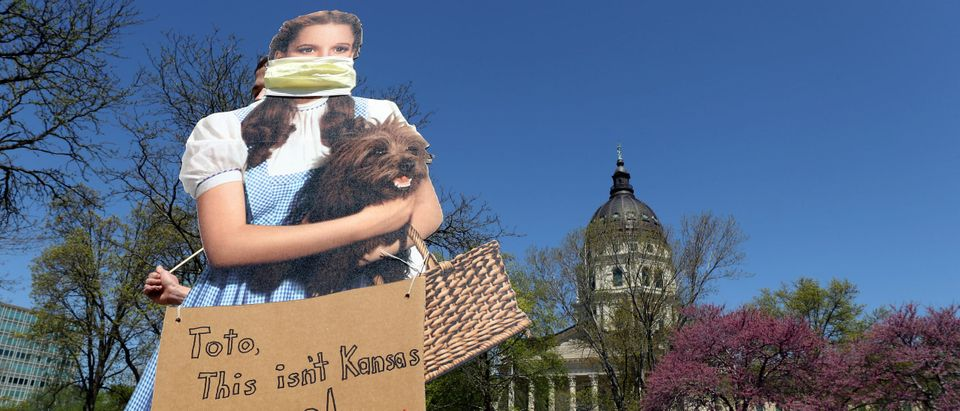 Protestors Rally At Kansas State Capitol Against Governor's Stay-At-Home Order
