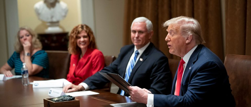U.S. President Donald Trump makes remarks as he meets with U.S. Tech Workers and signs an Executive Order on Hiring Americans, in the Cabinet Room of the White House on August 3, 2020 in Washington, DC. (Doug Mills-Pool/Getty Images)