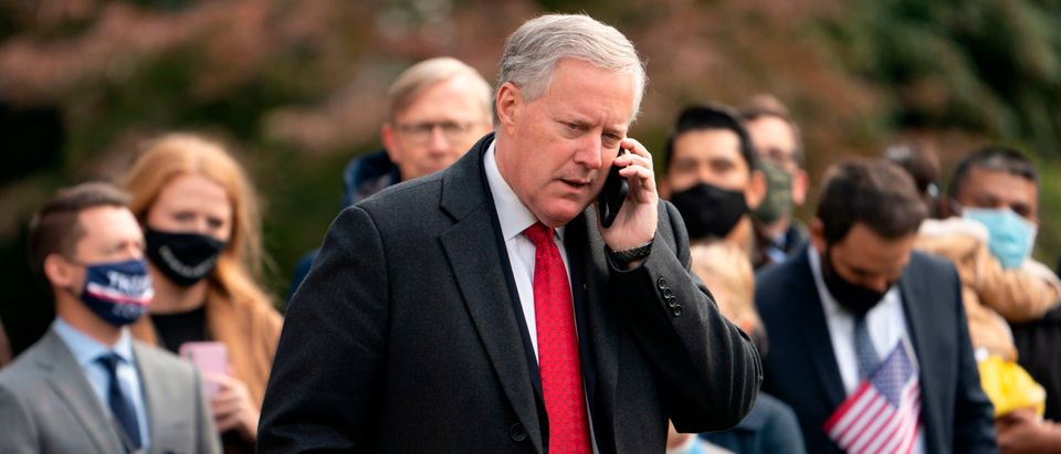 White House Chief of Staff Mark Meadows speaks on his phone as he waits for US President Donald Trump to depart the White House on October 30, 2020 in Washington, DC. - Trump travels to Michigan, Wisconsin and Minnesota for campaign rallies. (Photo by ANDREW CABALLERO-REYNOLDS/AFP via Getty Images)