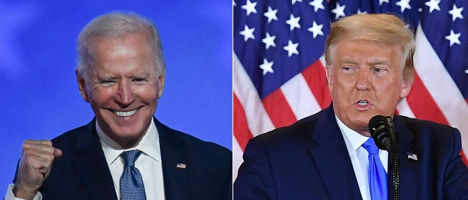 This combination of pictures created on November 4, 2020 shows Democratic presidential nominee Joe Biden gestures after speaking during election night at the Chase Center in Wilmington, Delaware, and US President Donald Trump speaks during election night in the East Room of the White House in Washington, DC, early on November 4, 2020. - President Donald Trump and Democratic challenger Joe Biden are battling it out for the White House, with polls closed across the United States Tuesday -- and a long night of waiting for results in key battlegrounds on the cards. (Photos by ANGELA WEISS and MANDEL NGAN / AFP / Getty Images)