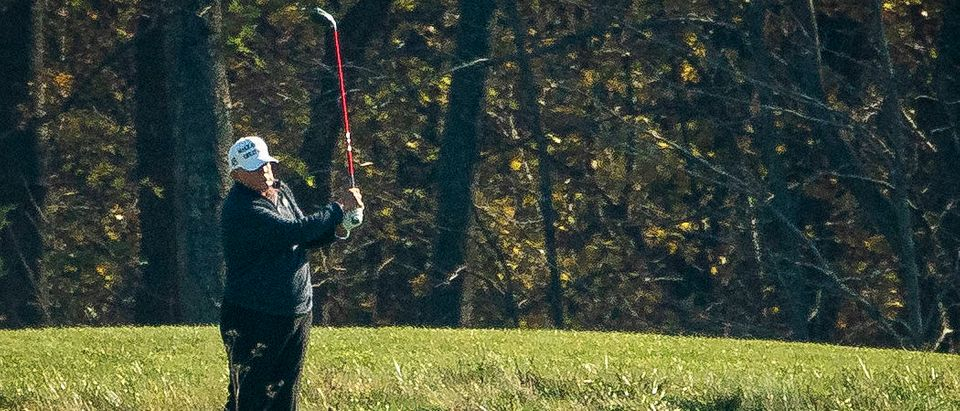 President Trump Golfs In Sterling, Virginia