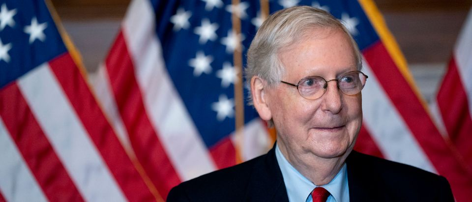 Sen. Mitch McConnell (R-KY) Holds Media Opportunity With Newly-Elected GOP Senators
