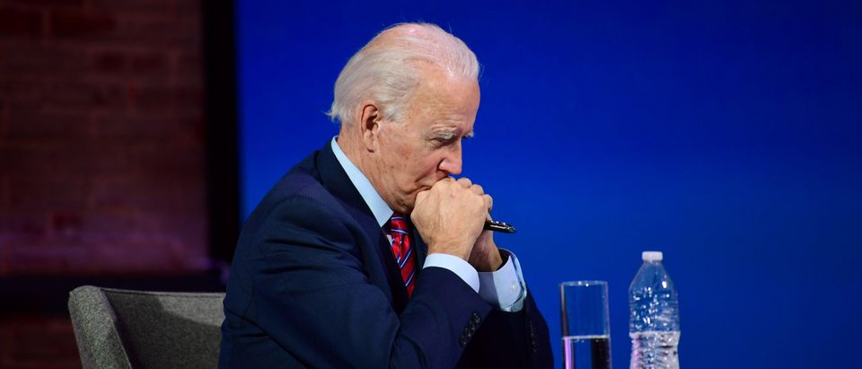 President-elect Joe Biden listens during a virtual meeting with the United States Conference of Mayors on November 23, 2020 in Wilmington, Delaware. (Mark Makela/Getty Images)